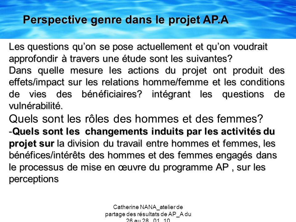 Catherine NANA_atelier de partage des résultats de AP_A du 26 au 28 _01_10 Les questions quon se pose actuellement et quon voudrait approfondir à trav