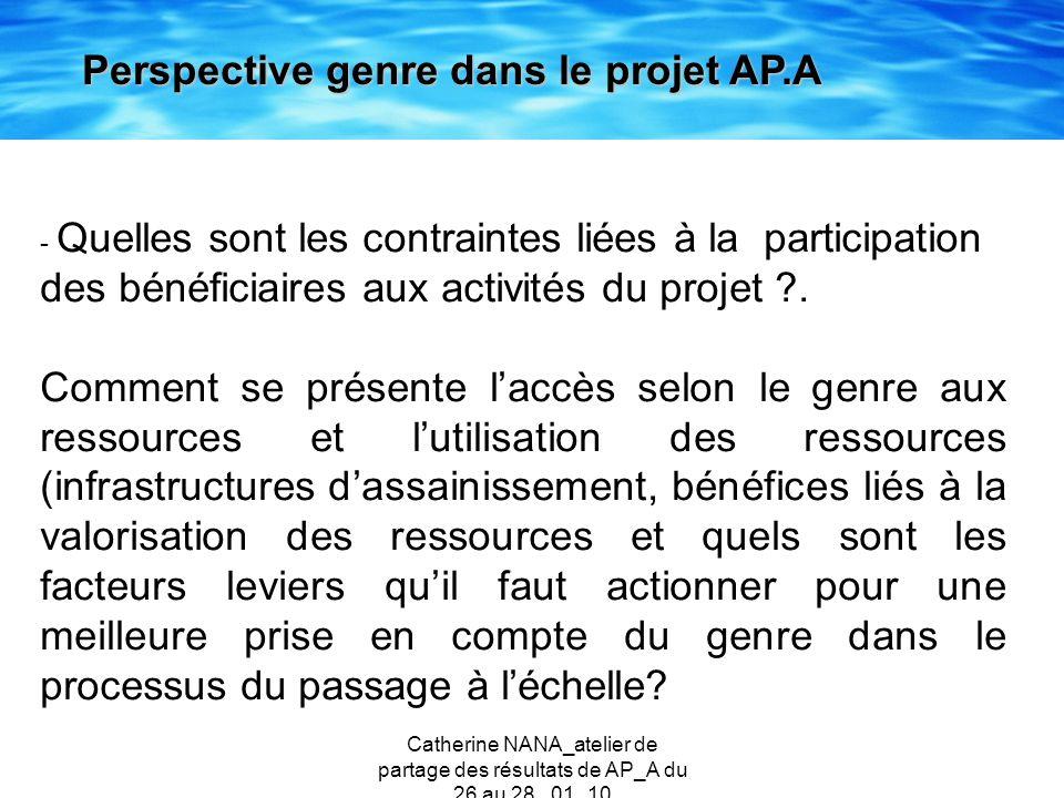 Catherine NANA_atelier de partage des résultats de AP_A du 26 au 28 _01_10 Perspective genre dans le projet AP.A - Quelles sont les contraintes liées