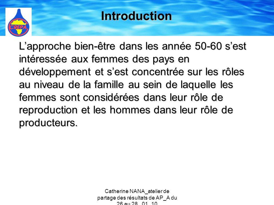 Catherine NANA_atelier de partage des résultats de AP_A du 26 au 28 _01_10 Les approches de développement au début des années 1970 jusquà 1980 (année de la DIEPA) se sont penchées également sur les besoins des femmes dans le contexte de leur rôle en tant quépouse et mère.