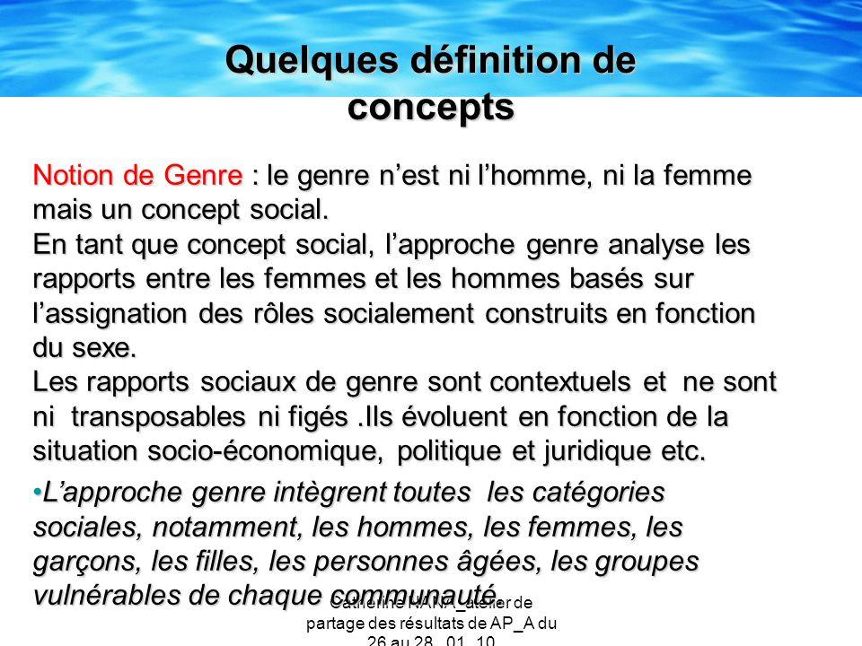 Catherine NANA_atelier de partage des résultats de AP_A du 26 au 28 _01_10 Quelques définition de concepts Notion de Genre : le genre nest ni lhomme,