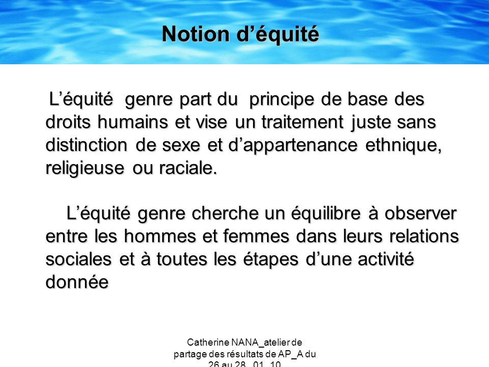 Catherine NANA_atelier de partage des résultats de AP_A du 26 au 28 _01_10 Notion déquité Léquité genre part du principe de base des droits humains et