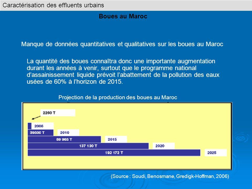Caractérisation des effluents urbains Boues au Maroc La quantité des boues connaîtra donc une importante augmentation durant les années à venir, surto