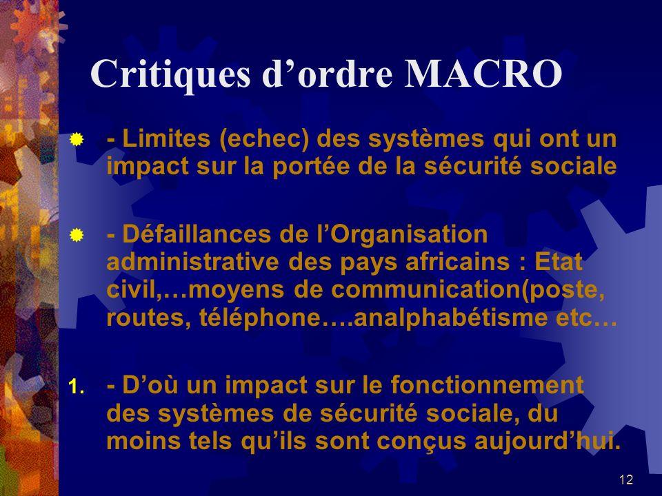 12 Critiques dordre MACRO - Limites (echec) des systèmes qui ont un impact sur la portée de la sécurité sociale - Défaillances de lOrganisation admini