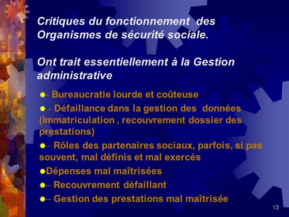 13 Critiques du fonctionnement des Organismes de sécurité sociale. Ont trait essentiellement à la Gestion administrative - Bureaucratie lourde et coût