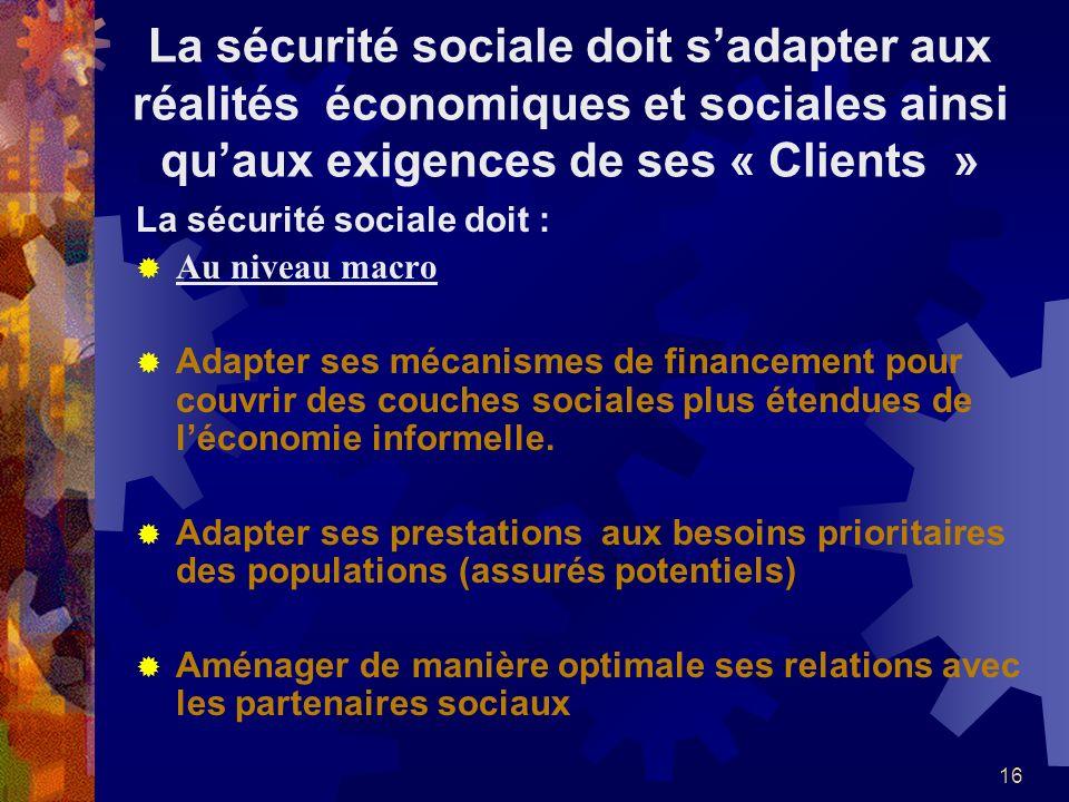 16 La sécurité sociale doit sadapter aux réalités économiques et sociales ainsi quaux exigences de ses « Clients » La sécurité sociale doit : Au nivea