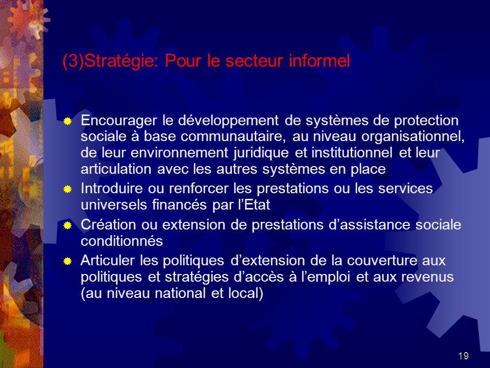 19 (3)Stratégie: Pour le secteur informel Encourager le développement de systèmes de protection sociale à base communautaire, au niveau organisationne