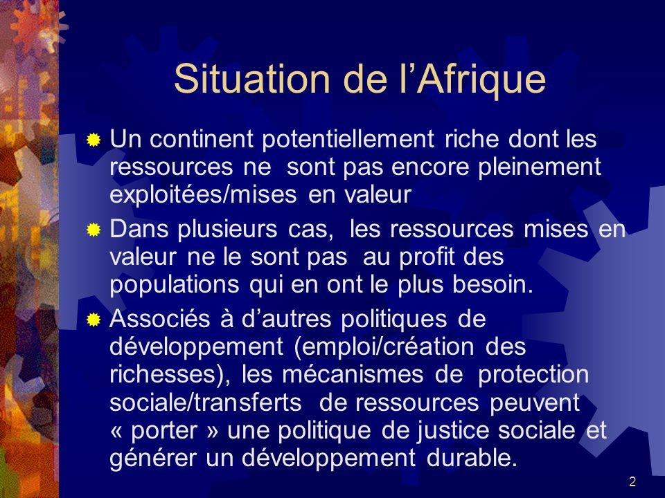2 Situation de lAfrique Un continent potentiellement riche dont les ressources ne sont pas encore pleinement exploitées/mises en valeur Dans plusieurs
