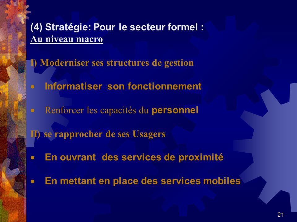 21 (4) Stratégie: Pour le secteur formel : Au niveau macro I) Moderniser ses structures de gestion Informatiser son fonctionnement Renforcer les capac