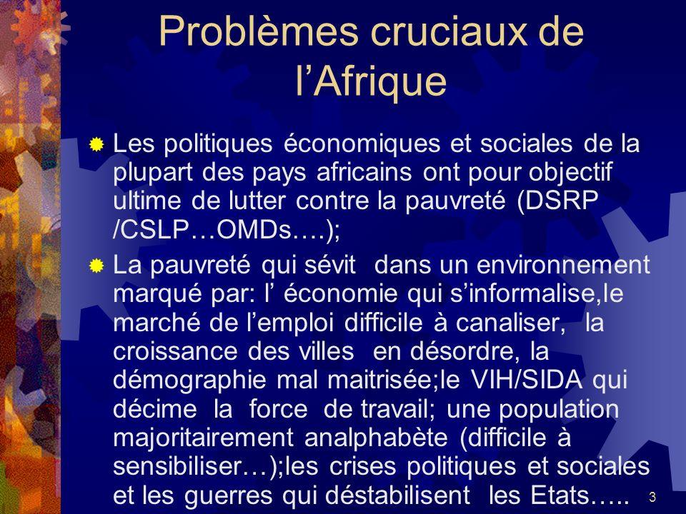 3 Problèmes cruciaux de lAfrique Les politiques économiques et sociales de la plupart des pays africains ont pour objectif ultime de lutter contre la