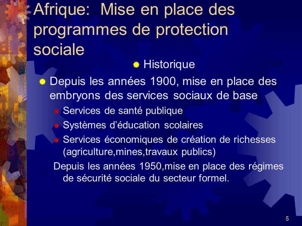 5 Afrique: Mise en place des programmes de protection sociale Historique Depuis les années 1900, mise en place des embryons des services sociaux de ba