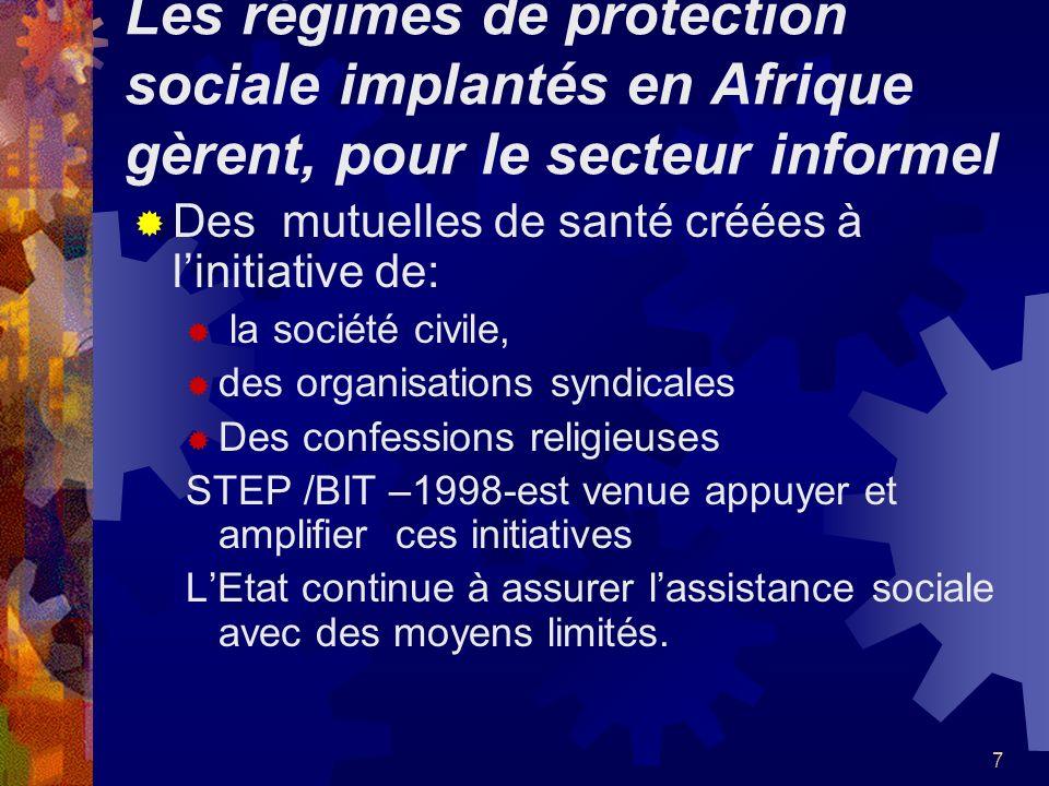 7 Les régimes de protection sociale implantés en Afrique gèrent, pour le secteur informel Des mutuelles de santé créées à linitiative de: la société c