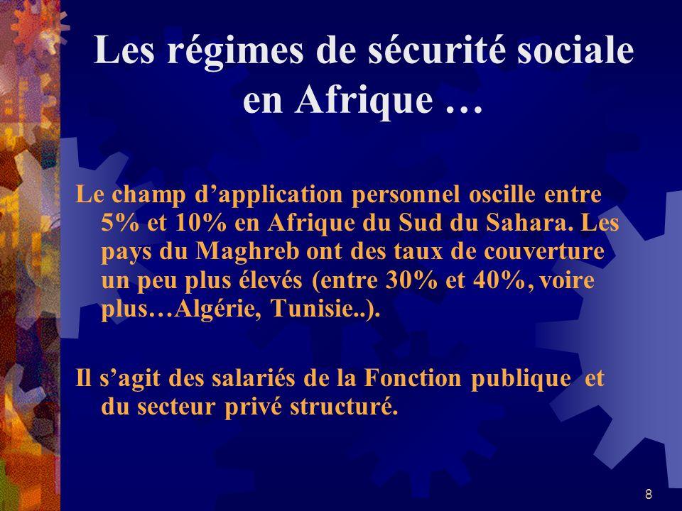 8 Les régimes de sécurité sociale en Afrique … Le champ dapplication personnel oscille entre 5% et 10% en Afrique du Sud du Sahara. Les pays du Maghre
