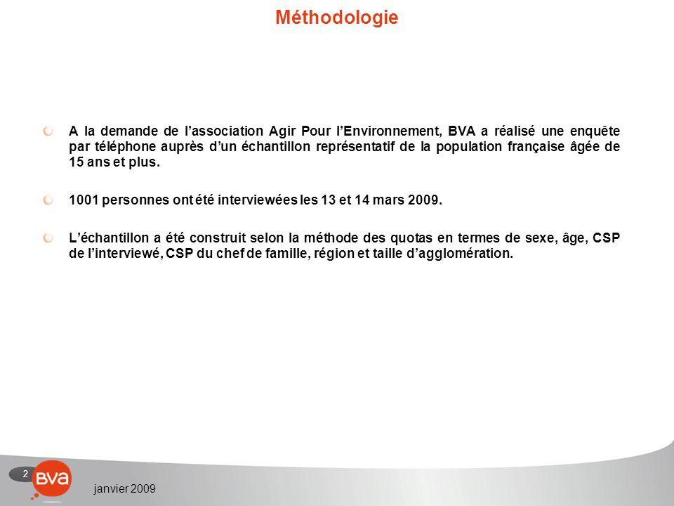 2 janvier 2009 Méthodologie A la demande de lassociation Agir Pour lEnvironnement, BVA a réalisé une enquête par téléphone auprès dun échantillon représentatif de la population française âgée de 15 ans et plus.