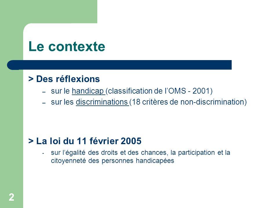2 Le contexte > Des réflexions – sur le handicap (classification de lOMS - 2001)handicap – sur les discriminations (18 critères de non-discrimination)