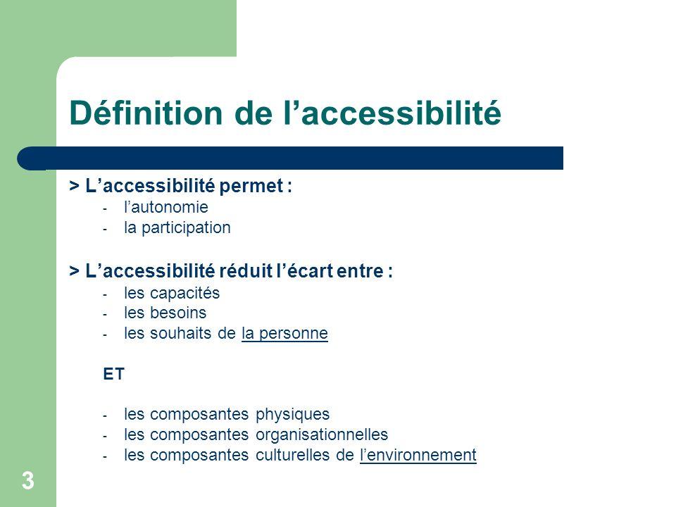 3 Définition de laccessibilité > Laccessibilité permet : - lautonomie - la participation > Laccessibilité réduit lécart entre : - les capacités - les