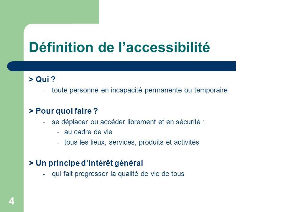 4 Définition de laccessibilité > Qui ? - toute personne en incapacité permanente ou temporaire > Pour quoi faire ? - se déplacer ou accéder librement