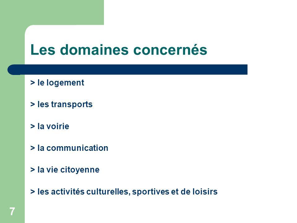 7 Les domaines concernés > le logement > les transports > la voirie > la communication > la vie citoyenne > les activités culturelles, sportives et de