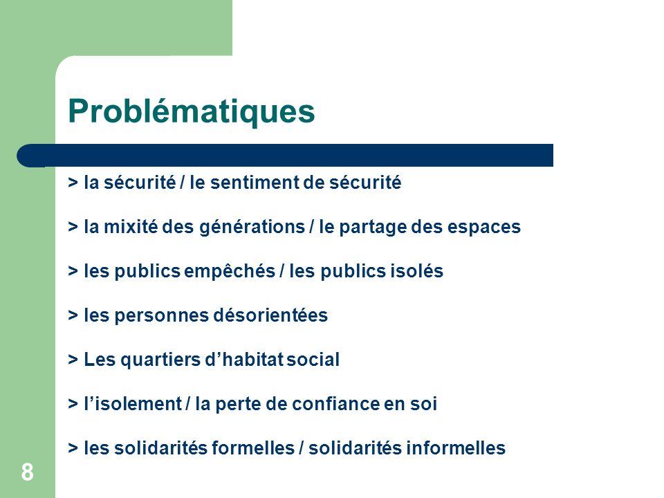 8 Problématiques > la sécurité / le sentiment de sécurité > la mixité des générations / le partage des espaces > les publics empêchés / les publics is