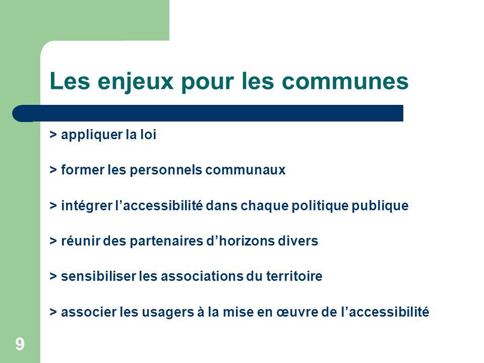 9 Les enjeux pour les communes > appliquer la loi > former les personnels communaux > intégrer laccessibilité dans chaque politique publique > réunir