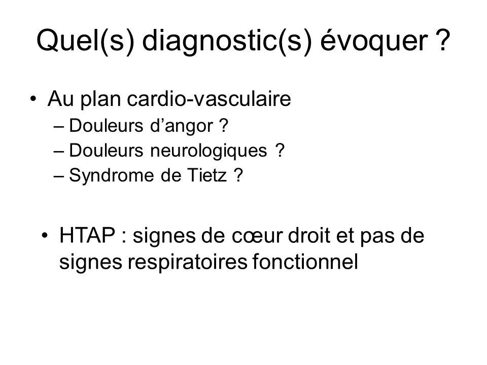 Quel(s) diagnostic(s) évoquer ? Au plan cardio-vasculaire –Douleurs dangor ? –Douleurs neurologiques ? –Syndrome de Tietz ? HTAP : signes de cœur droi