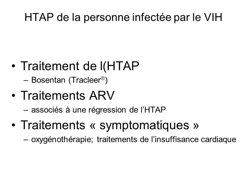 HTAP de la personne infectée par le VIH Traitement de l(HTAP –Bosentan (Tracleer ® ) Traitements ARV –associés à une régression de lHTAP Traitements «