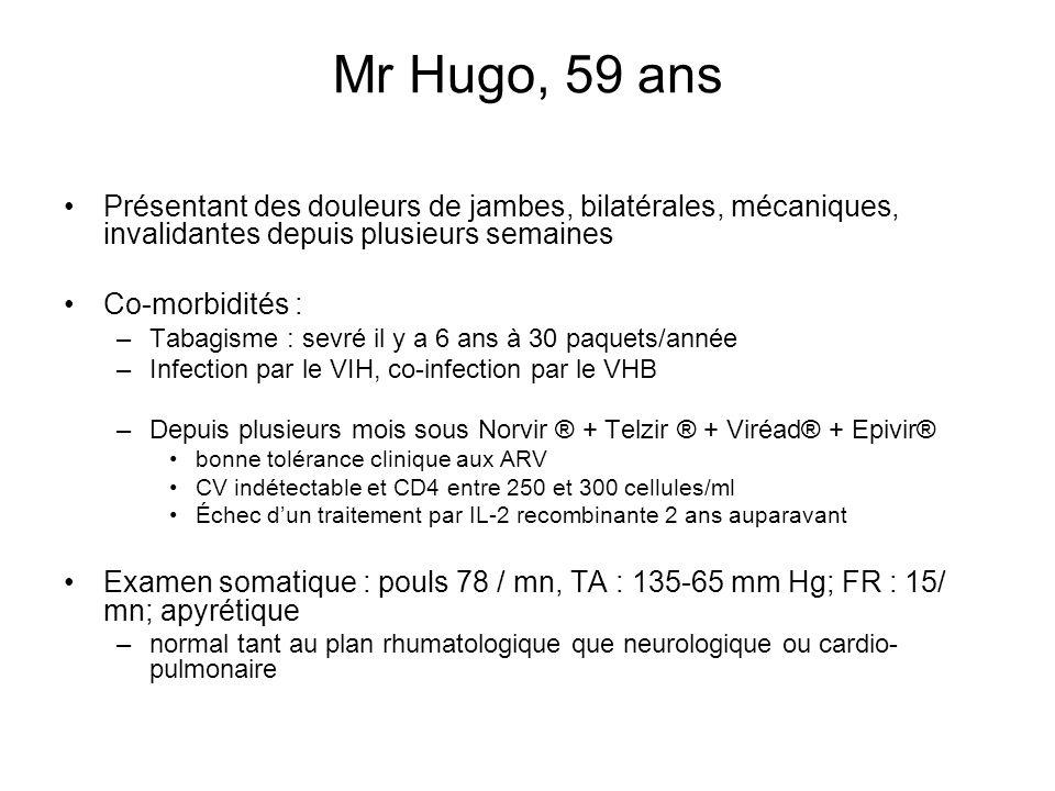 Mr Hugo, 59 ans Présentant des douleurs de jambes, bilatérales, mécaniques, invalidantes depuis plusieurs semaines Co-morbidités : –Tabagisme : sevré
