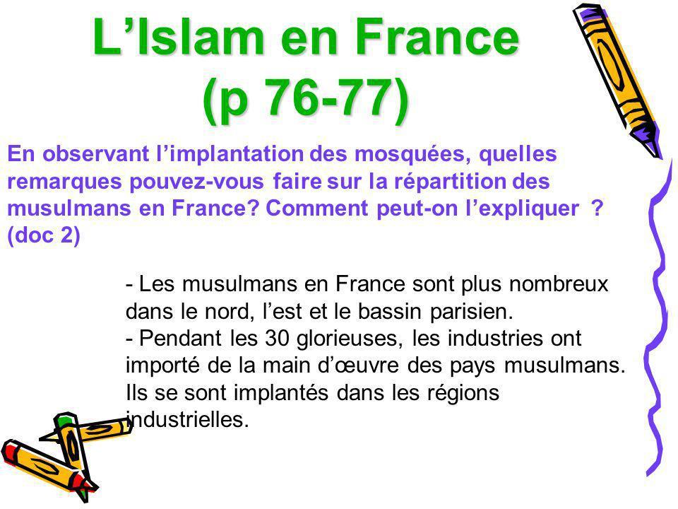 LIslam en France (p 76-77) En observant limplantation des mosquées, quelles remarques pouvez-vous faire sur la répartition des musulmans en France? Co