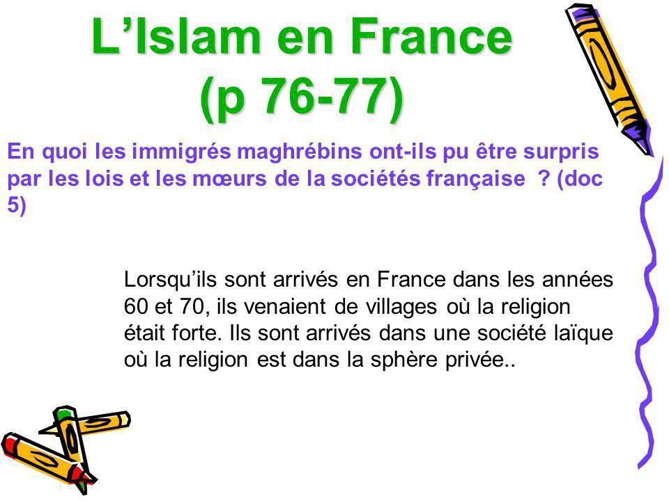 LIslam en France (p 76-77) En quoi les immigrés maghrébins ont-ils pu être surpris par les lois et les mœurs de la sociétés française ? (doc 5) Lorsqu