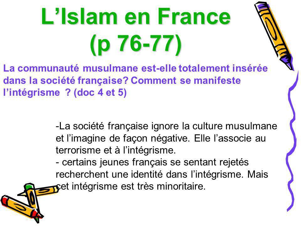 LIslam en France (p 76-77) La communauté musulmane est-elle totalement insérée dans la société française? Comment se manifeste lintégrisme ? (doc 4 et