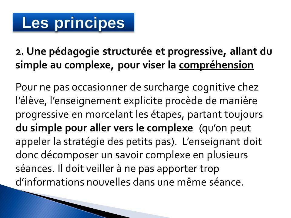 2. Une pédagogie structurée et progressive, allant du simple au complexe, pour viser la compréhension Pour ne pas occasionner de surcharge cognitive c