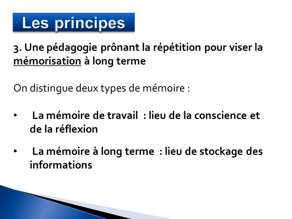 3. Une pédagogie prônant la répétition pour viser la mémorisation à long terme On distingue deux types de mémoire : La mémoire de travail : lieu de la