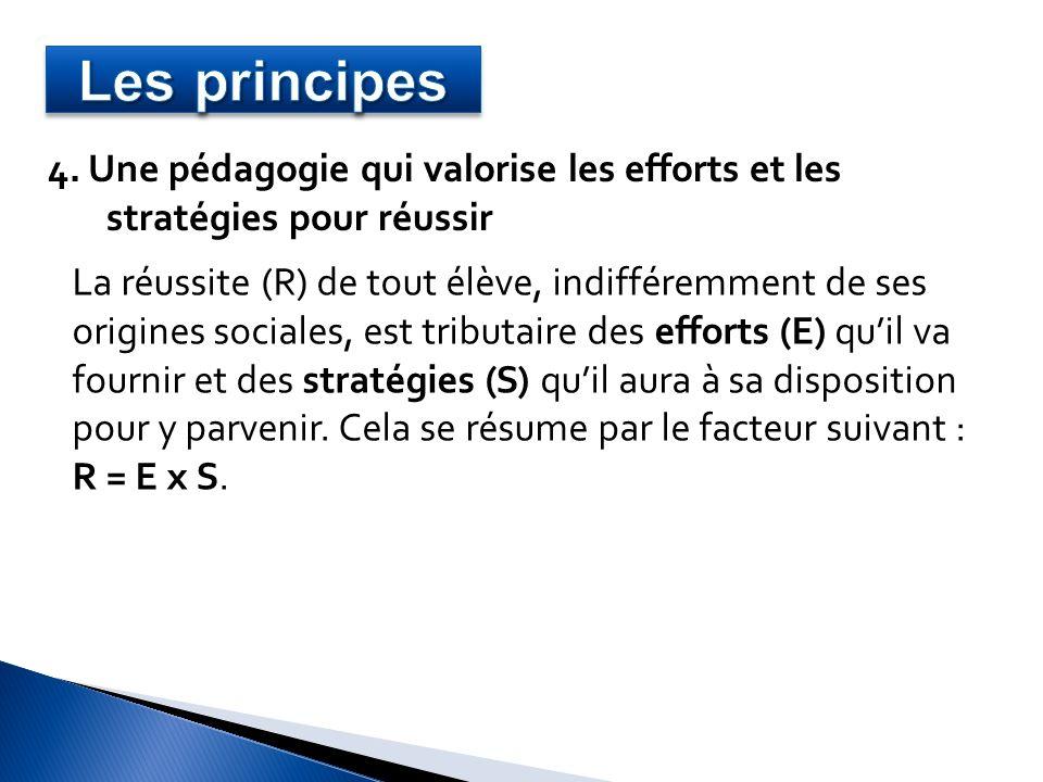 4. Une pédagogie qui valorise les efforts et les stratégies pour réussir La réussite (R) de tout élève, indifféremment de ses origines sociales, est t
