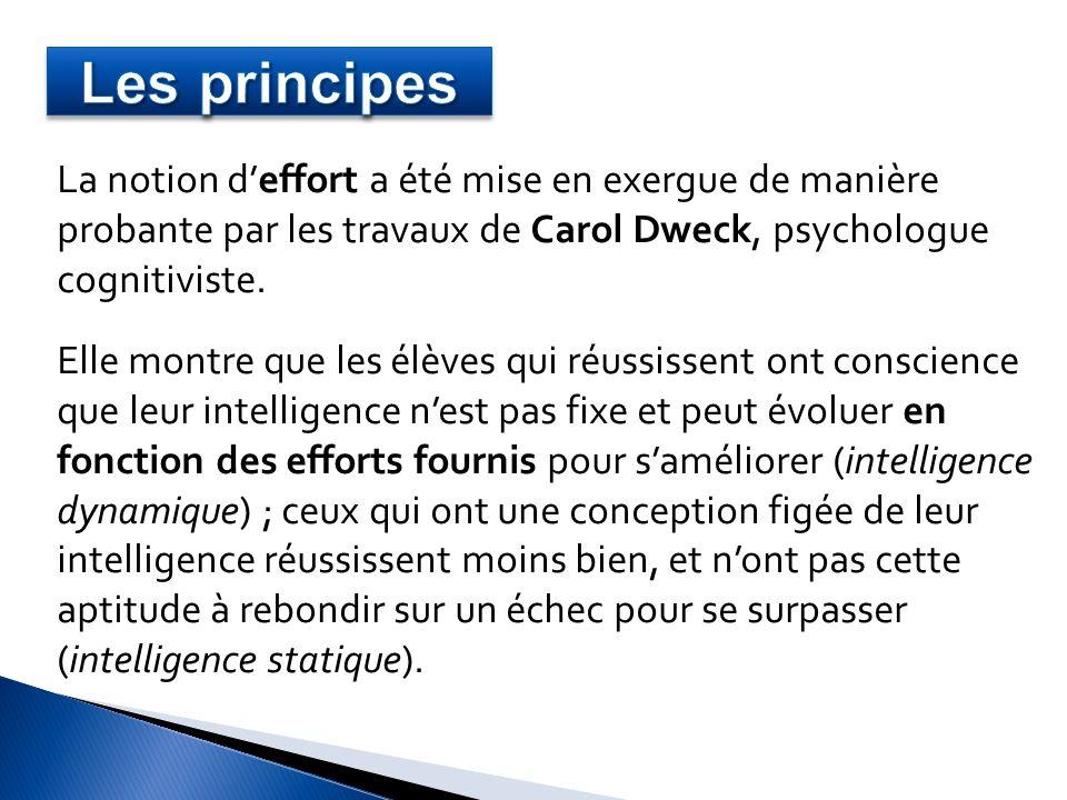 La notion deffort a été mise en exergue de manière probante par les travaux de Carol Dweck, psychologue cognitiviste. Elle montre que les élèves qui r