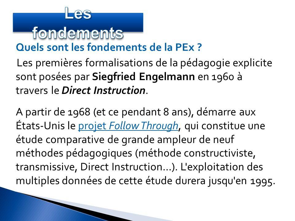 Les premières formalisations de la pédagogie explicite sont posées par Siegfried Engelmann en 1960 à travers le Direct Instruction. A partir de 1968 (