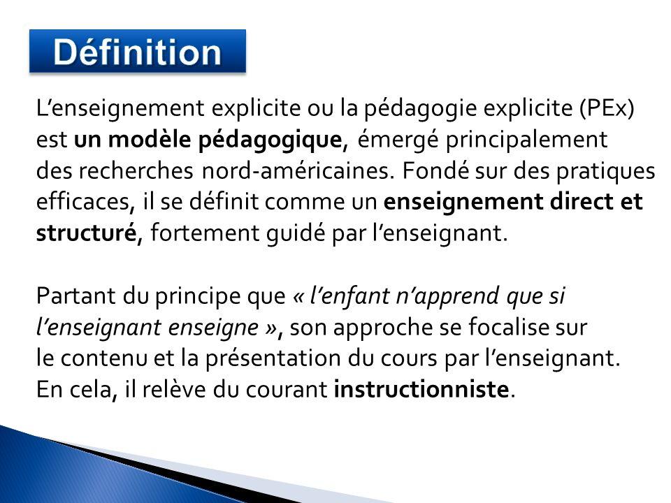 Les 7 étapes dune leçon explicite Daprès Madeline Cheek Hunter 1.Mise en situation 2.Modelage 3.Pratique guidée 4.Pratique autonome 5.Objectivation 6.Révisions (hebdomadaire et mensuelle) 7.Evaluation Quelles sont les étapes dune leçon explicite ?
