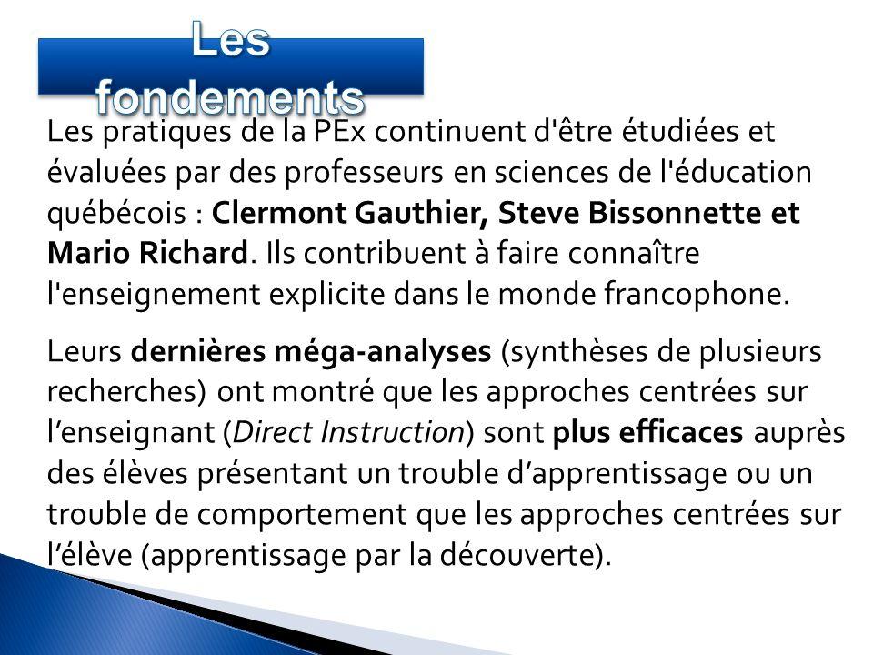 Les pratiques de la PEx continuent d'être étudiées et évaluées par des professeurs en sciences de l'éducation québécois : Clermont Gauthier, Steve Bis