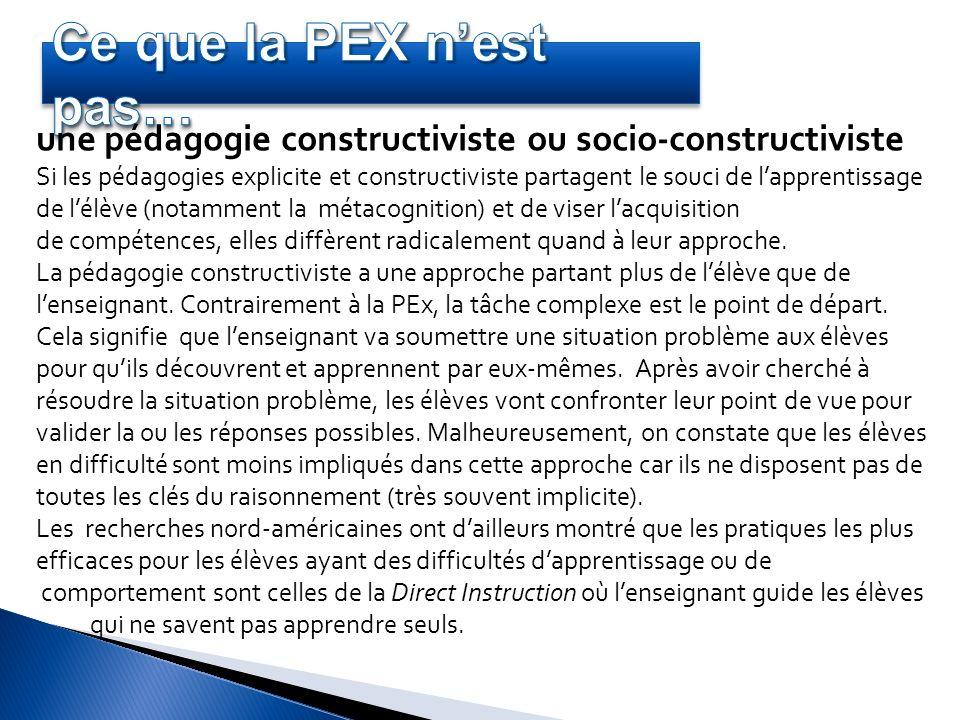 une pédagogie constructiviste ou socio-constructiviste Si les pédagogies explicite et constructiviste partagent le souci de lapprentissage de lélève (