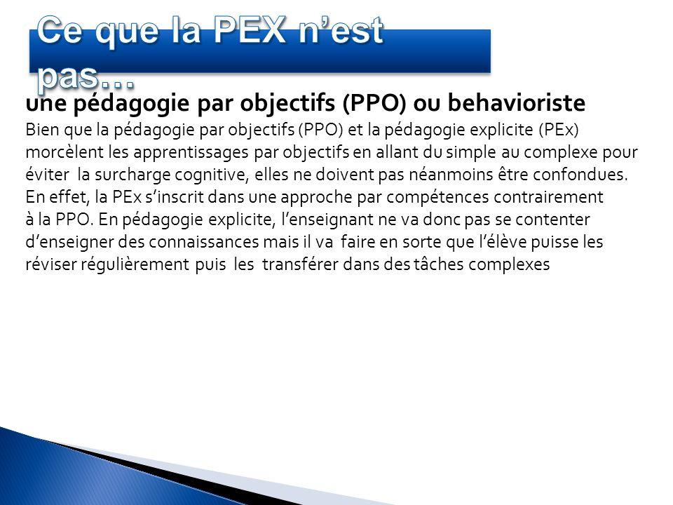 une pédagogie par objectifs (PPO) ou behavioriste Bien que la pédagogie par objectifs (PPO) et la pédagogie explicite (PEx) morcèlent les apprentissag