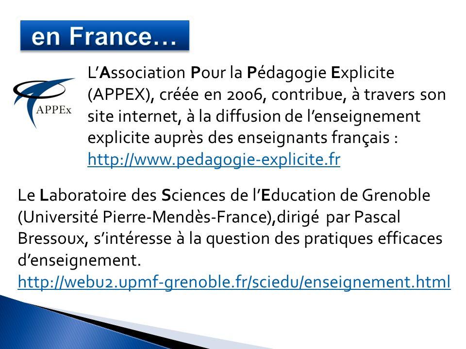 LAssociation Pour la Pédagogie Explicite (APPEX), créée en 2006, contribue, à travers son site internet, à la diffusion de lenseignement explicite aup