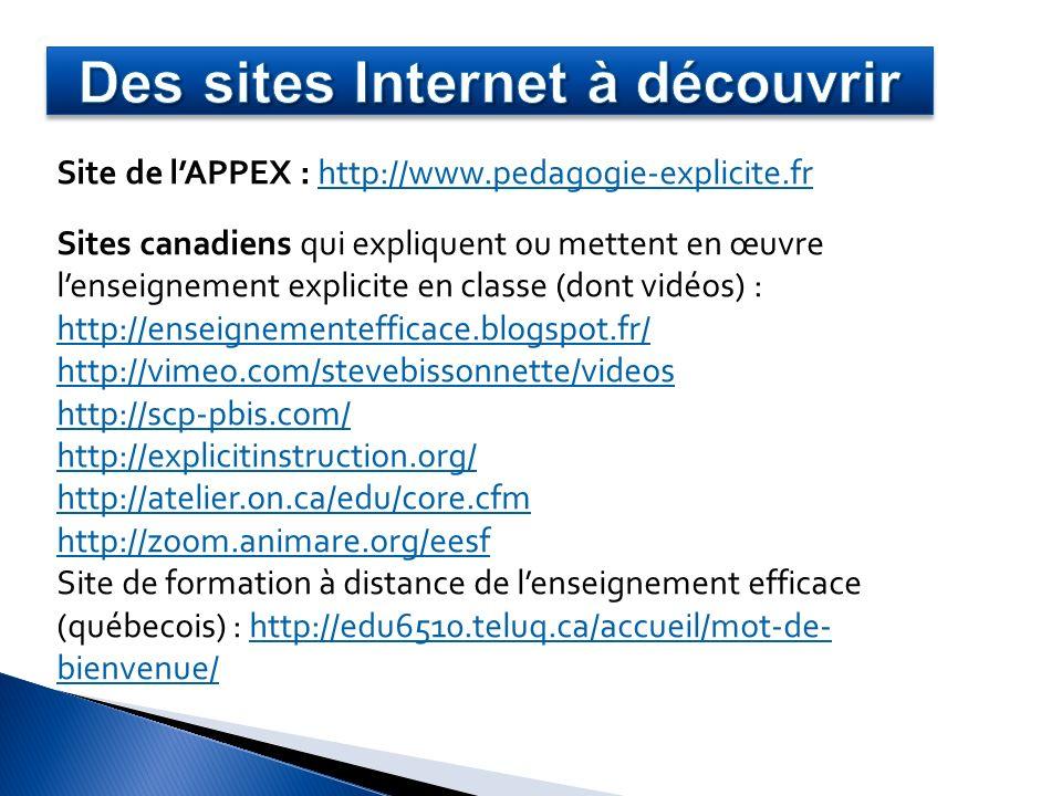 Site de lAPPEX : http://www.pedagogie-explicite.frhttp://www.pedagogie-explicite.fr Sites canadiens qui expliquent ou mettent en œuvre lenseignement e