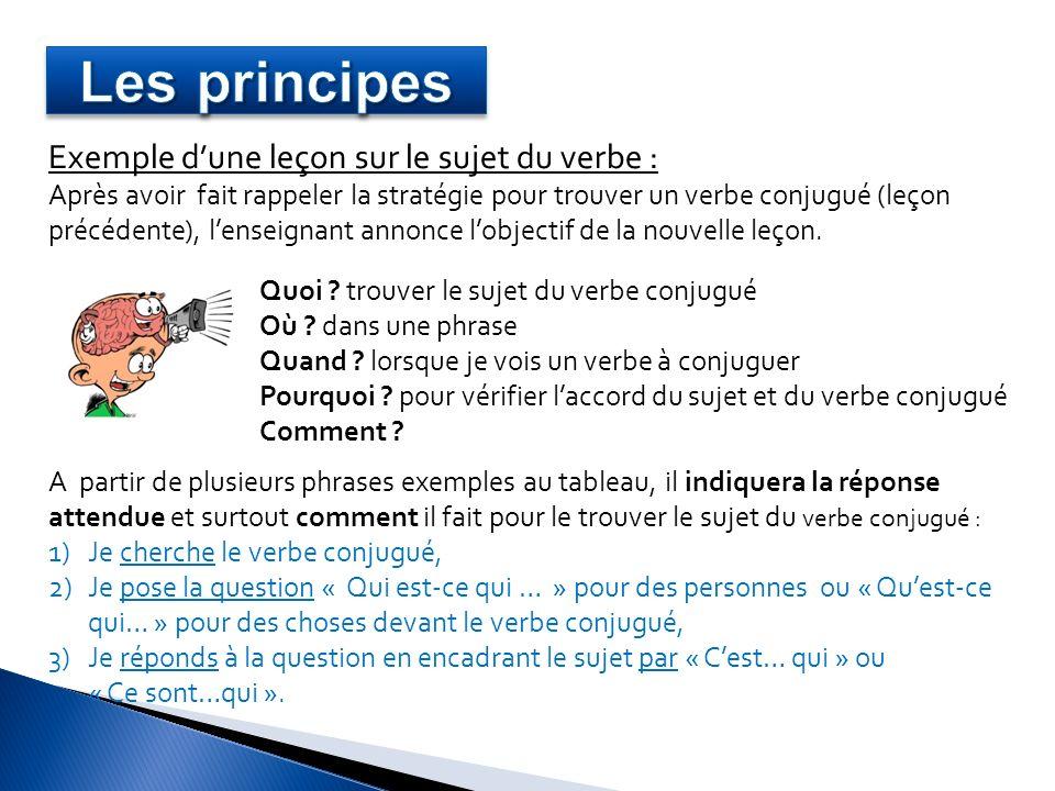 Exemple dune leçon sur le sujet du verbe : Après avoir fait rappeler la stratégie pour trouver un verbe conjugué (leçon précédente), lenseignant annon
