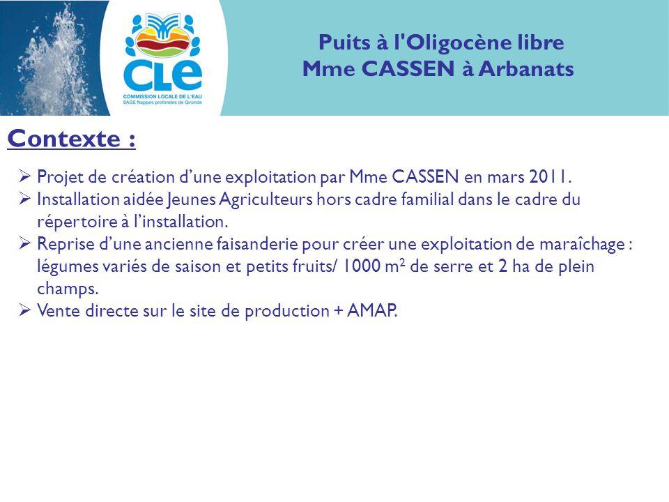 Contexte : Projet de création dune exploitation par Mme CASSEN en mars 2011.