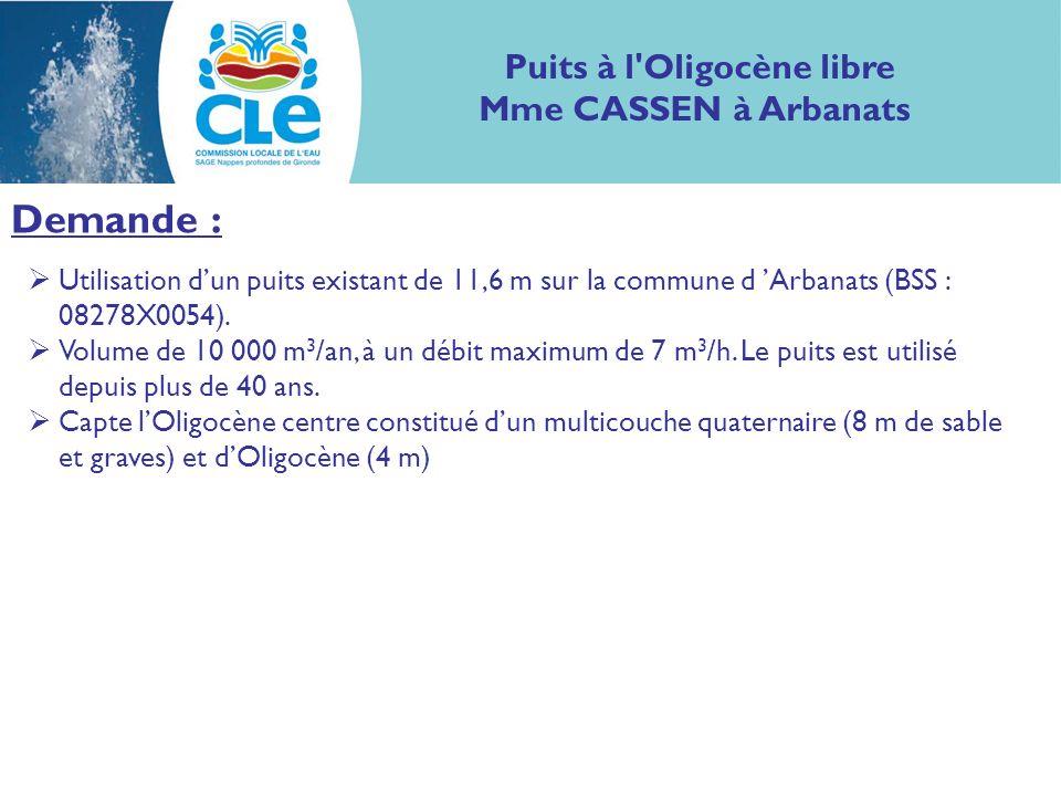 Demande : Utilisation dun puits existant de 11,6 m sur la commune d Arbanats (BSS : 08278X0054). Volume de 10 000 m 3 /an, à un débit maximum de 7 m 3