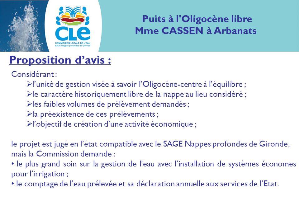 Proposition davis : Considérant : lunité de gestion visée à savoir lOligocène-centre à léquilibre ; le caractère historiquement libre de la nappe au l