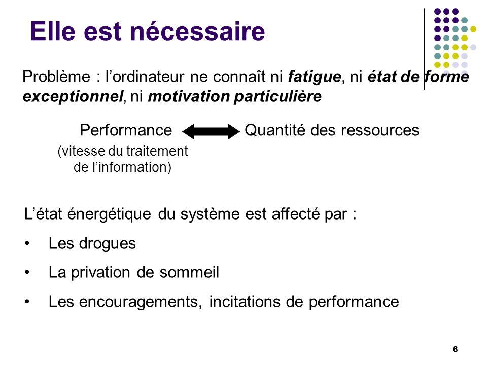 Elle est nécessaire Problème : lordinateur ne connaît ni fatigue, ni état de forme exceptionnel, ni motivation particulière PerformanceQuantité des re