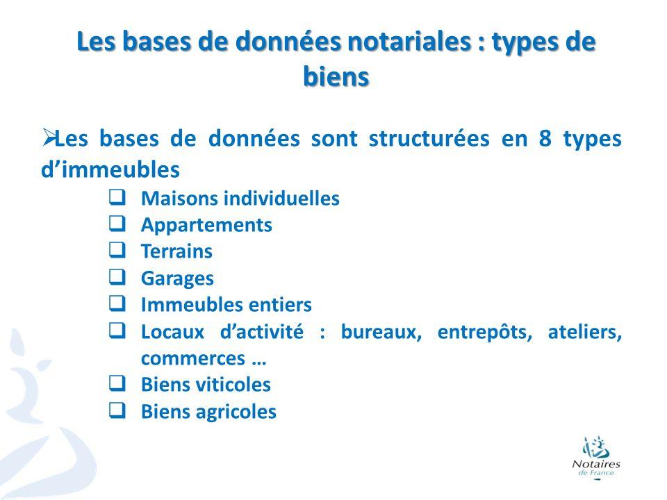 3 Les bases de données sont structurées en 8 types dimmeubles Maisons individuelles Appartements Terrains Garages Immeubles entiers Locaux dactivité :
