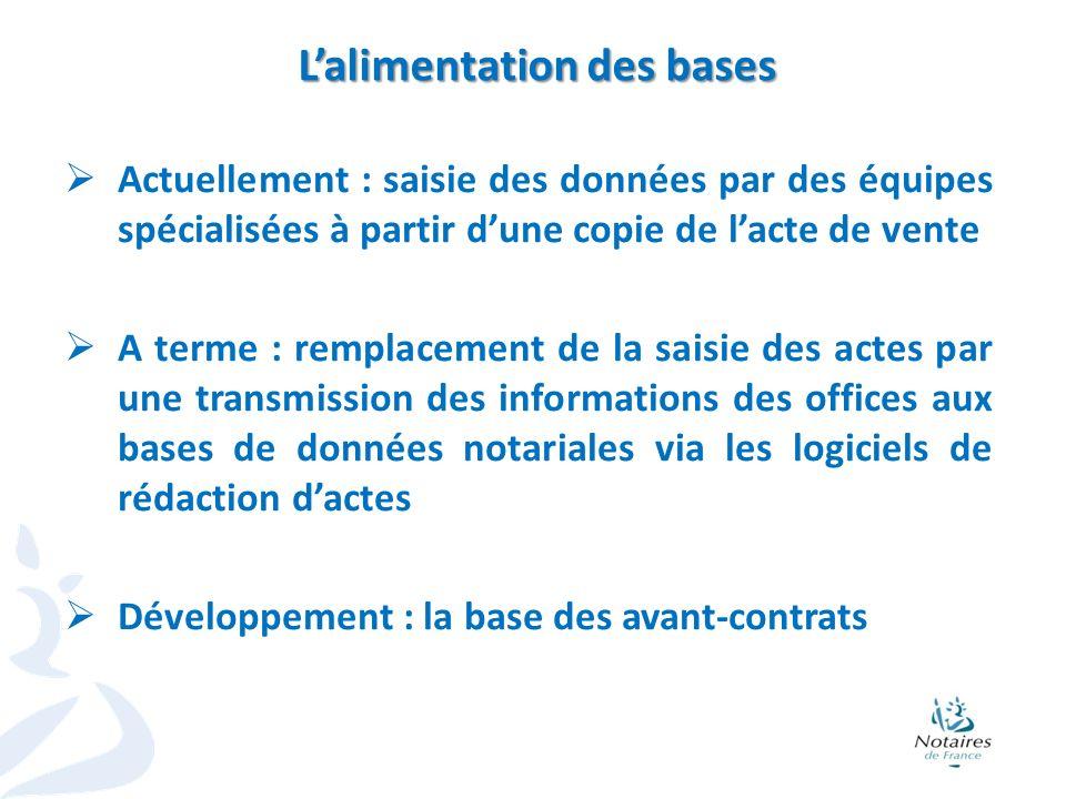 6 Lalimentation des bases Actuellement : saisie des données par des équipes spécialisées à partir dune copie de lacte de vente A terme : remplacement
