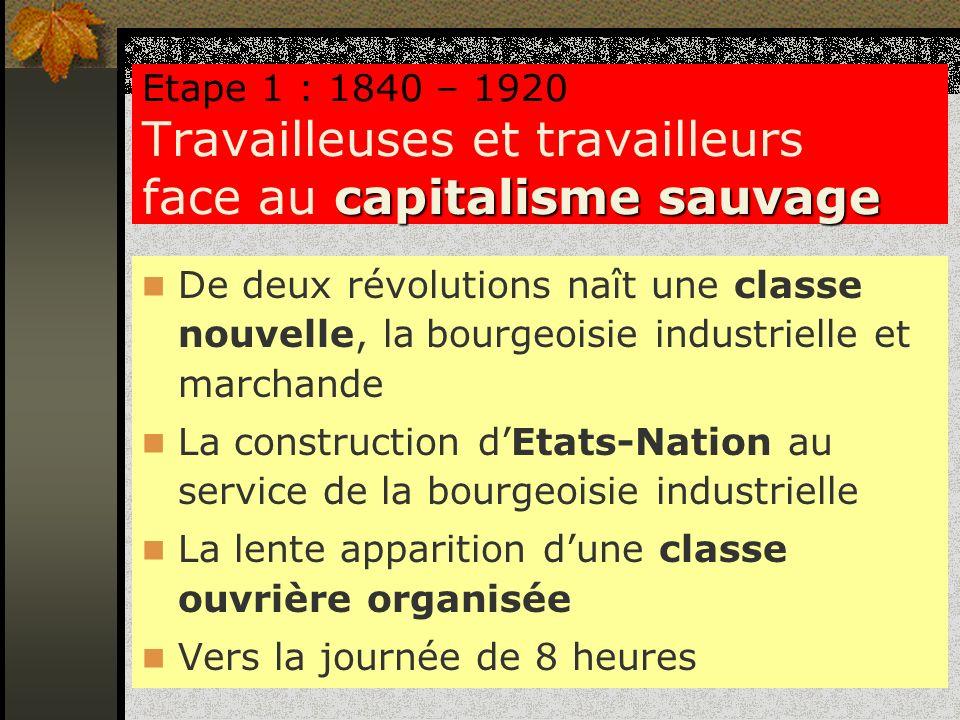 capitalisme sauvage Etape 1 : 1840 – 1920 Travailleuses et travailleurs face au capitalisme sauvage De deux révolutions naît une classe nouvelle, la b
