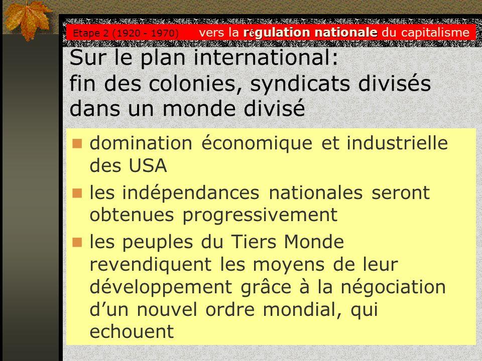Sur le plan international: fin des colonies, syndicats divisés dans un monde divisé domination économique et industrielle des USA les indépendances na