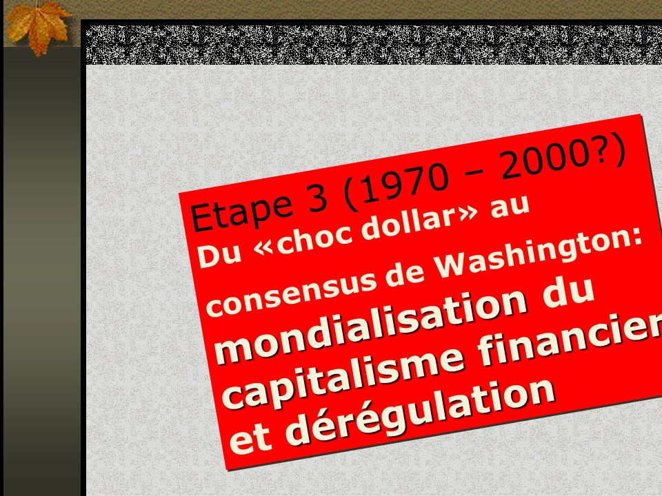 Etape 3 (1970 – 2000?) mondialisation capitalisme financier dérégulation Du «choc dollar» au consensus de Washington: mondialisation du capitalisme fi